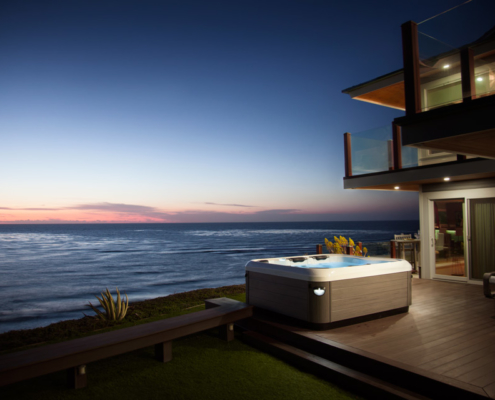 hot tub ocean view sunset